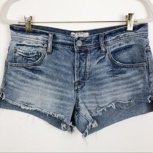 FREE PEOPLE BUTTON FLY CUT OFF JEAN SHORTS SZ 26